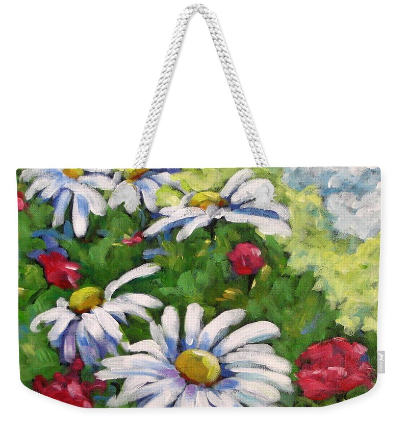 Daysy Weekender Tote Bag featuring the painting Marguerites 002 by Richard T Pranke