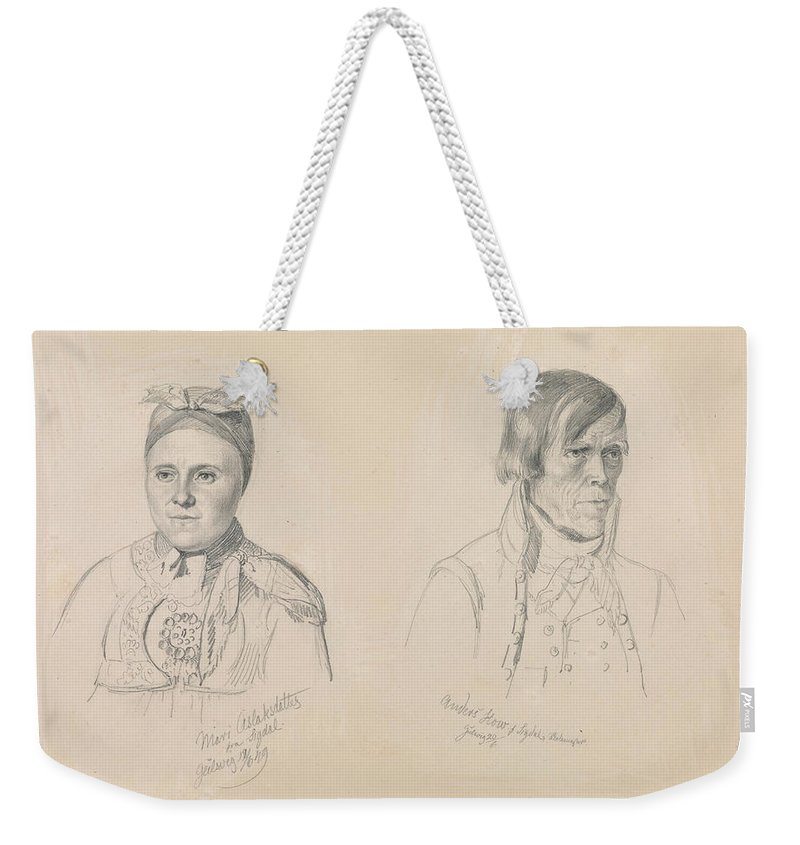 Norwegian Art Weekender Tote Bag featuring the drawing Mari Aslaksdatter And Anders How From Sigdal by Adolph Tidemand