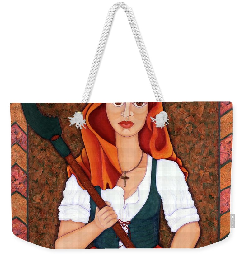Maria Da Fonte Weekender Tote Bag featuring the painting Maria Da Fonte - The Revolt Of Women by Madalena Lobao-Tello