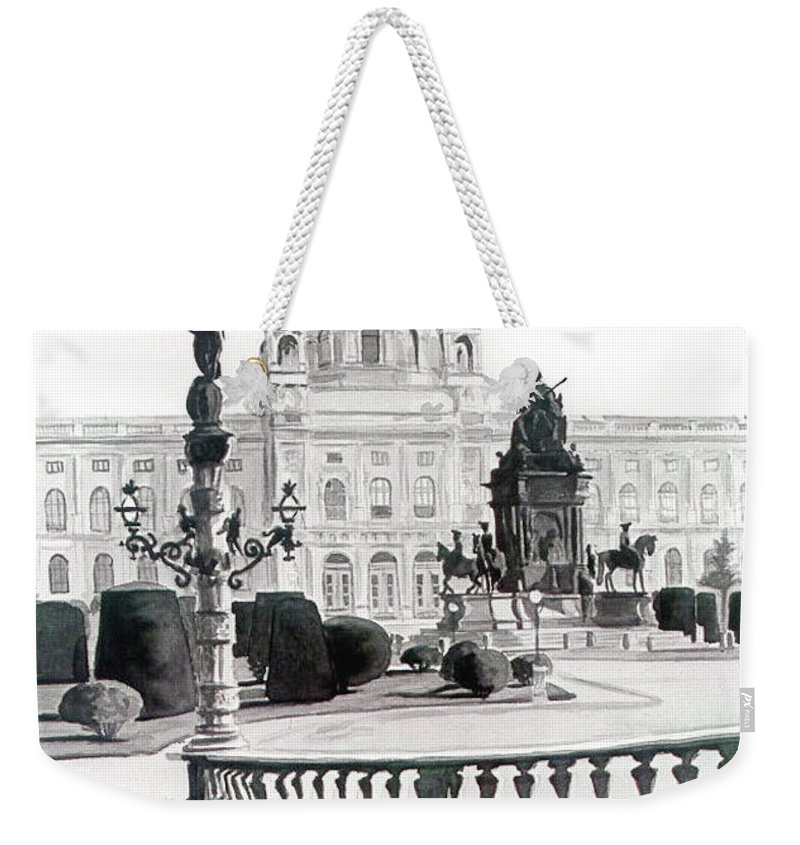 Weekender Tote Bag featuring the painting Maria Theresien Platz by Johannes Margreiter