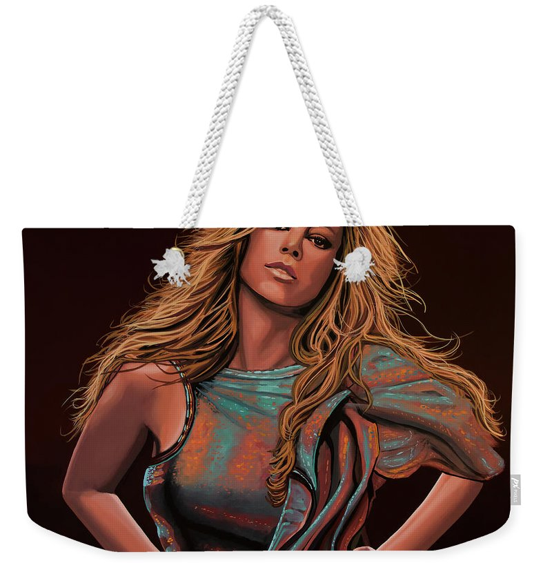 Mariah Carey Weekender Tote Bag featuring the painting Mariah Carey Painting by Paul Meijering
