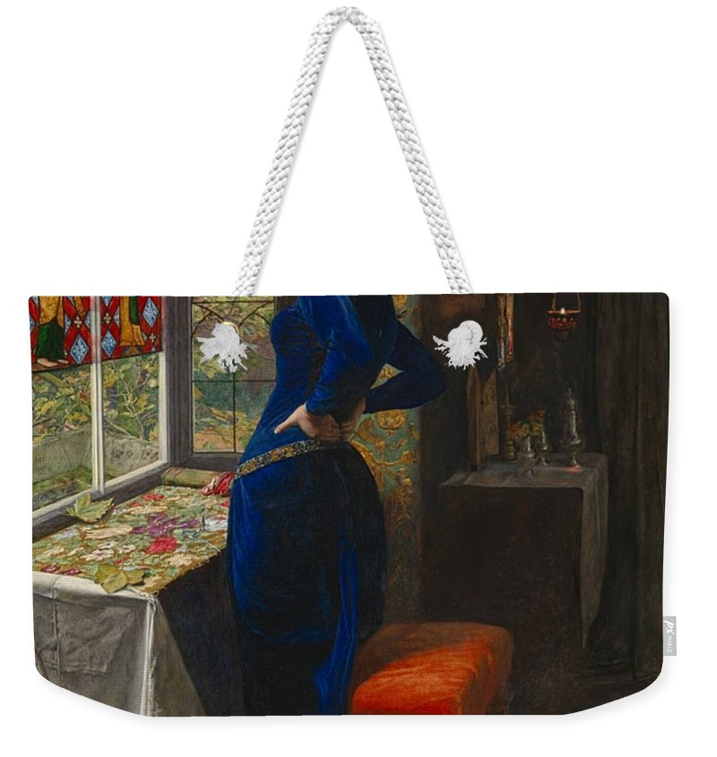 Sir John Everett Millais Weekender Tote Bag featuring the painting Mariana by MotionAge Designs