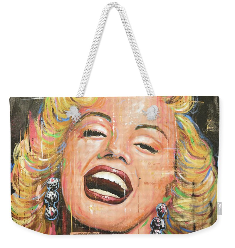 Marilyn Monroe Weekender Tote Bag featuring the painting Marilyn Monroe film movie actress art painting by Amy Giacomelli