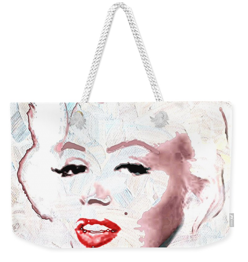 Marilyn Monroe Weekender Tote Bag featuring the digital art Marilyn Monroe by Linda Mears