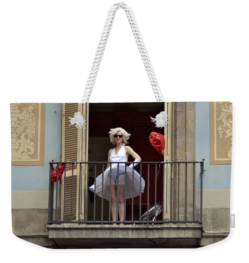 Marilyn Monroe Weekender Tote Bag featuring the photograph Marilyn Monroe Lookalike by John Hughes