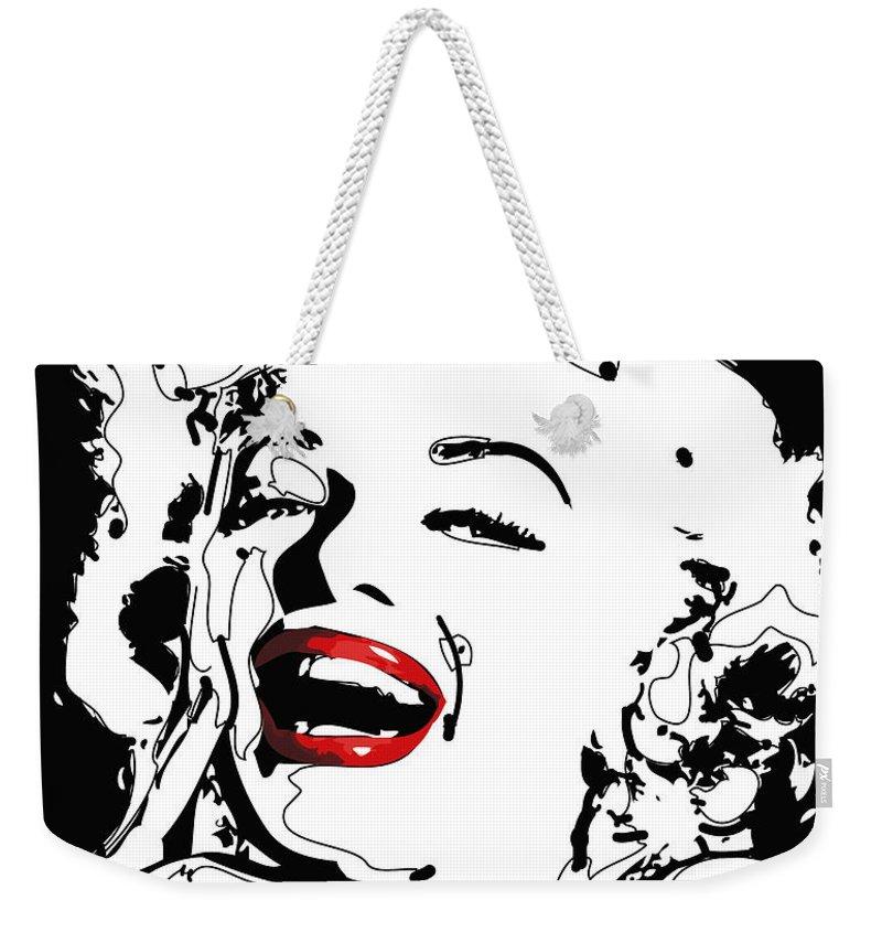Actress Weekender Tote Bag featuring the digital art Marilyn Monroe by Rabi Khan