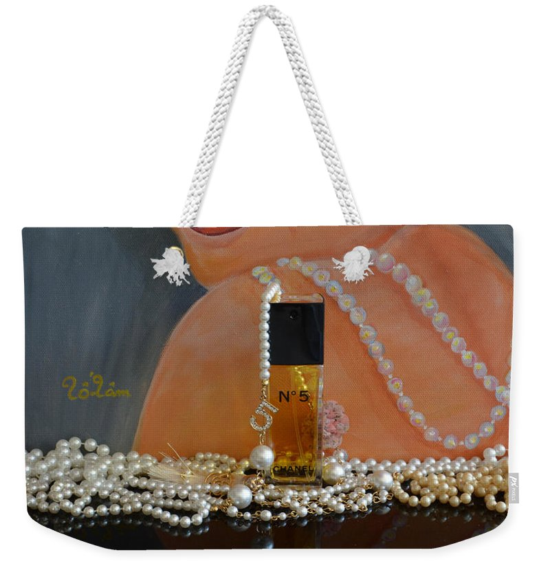 Marilyn Monroe Weekender Tote Bag featuring the mixed media Marilyn With Chanel And Pearls by To-Tam Gerwe