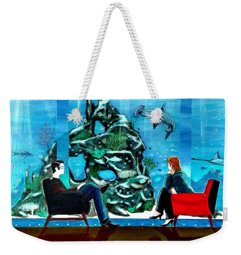 Johnlyes Weekender Tote Bag featuring the painting Marinelife Observing Couple Sitting In Chairs by John Lyes
