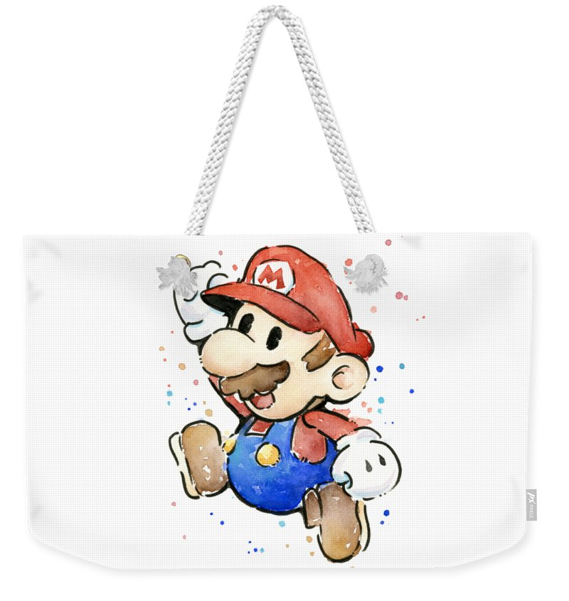 Mario Weekender Tote Bag featuring the painting Mario Watercolor Fan Art by Olga Shvartsur