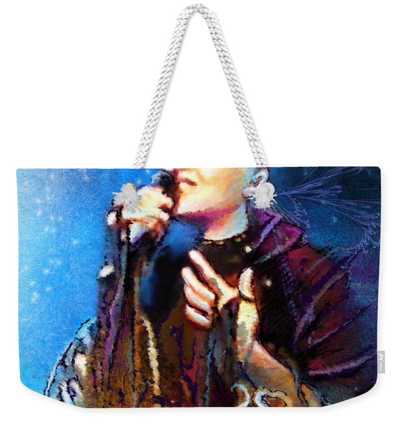 Music Weekender Tote Bag featuring the painting Mariza by Miki De Goodaboom