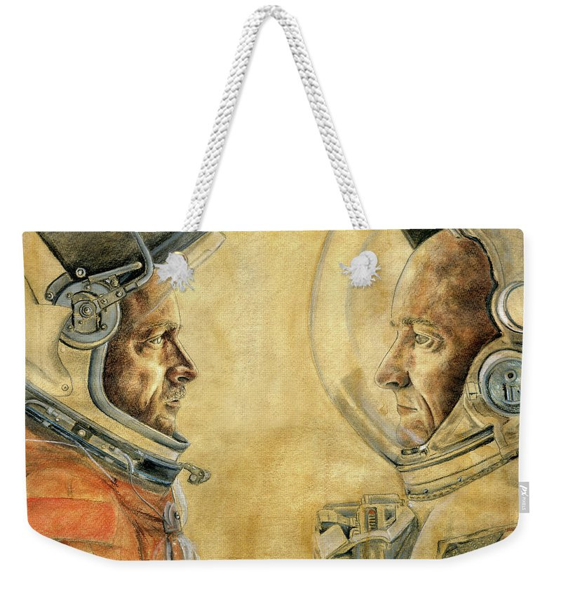 Mark Weekender Tote Bag featuring the drawing Mark And Scott Kelly by Michelle Rouch