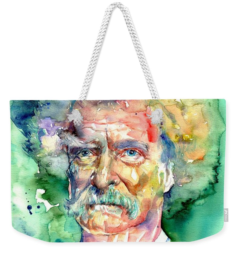 Mark Weekender Tote Bag featuring the painting Mark Twain Watercolor by Suzann Sines