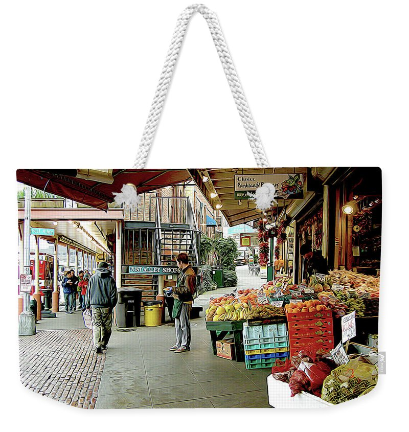 Sanitary Market Weekender Tote Bag featuring the photograph Market Alley Wares by Linda Carruth