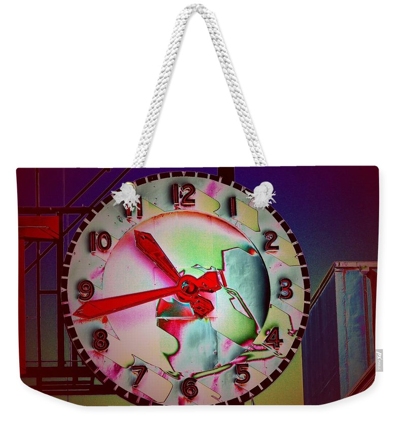 Seattle Weekender Tote Bag featuring the digital art Market Clock 3 by Tim Allen