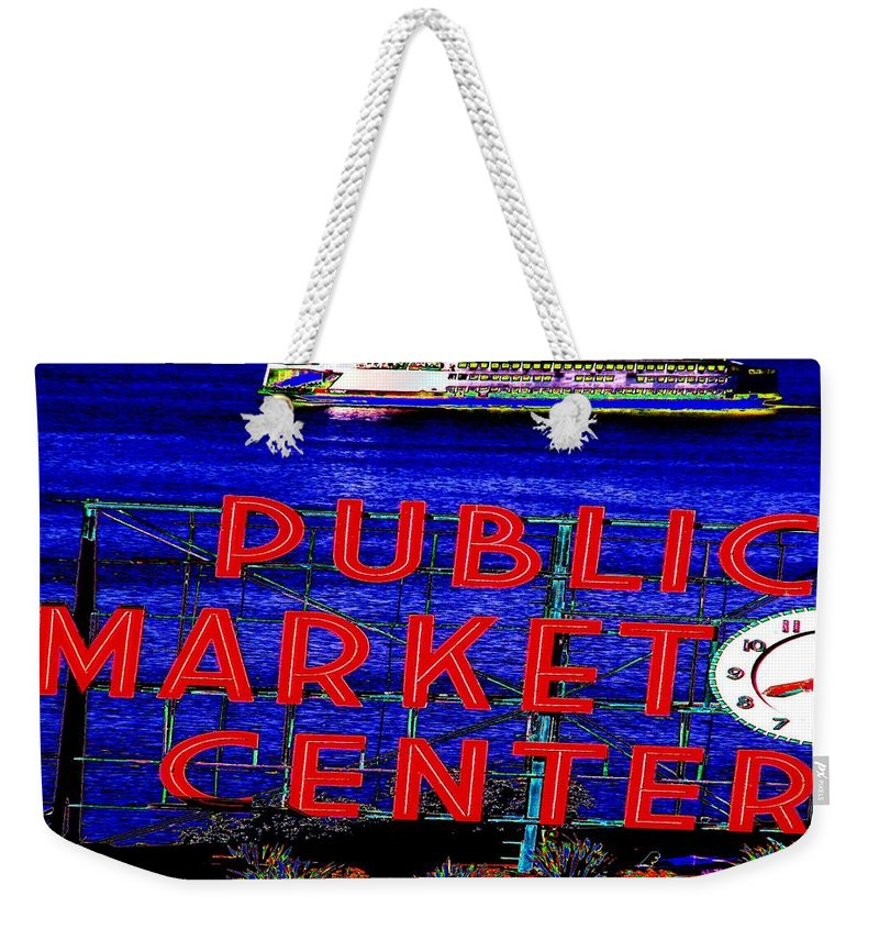 Seattle Weekender Tote Bag featuring the photograph Market Clock And Ferry by Tim Allen