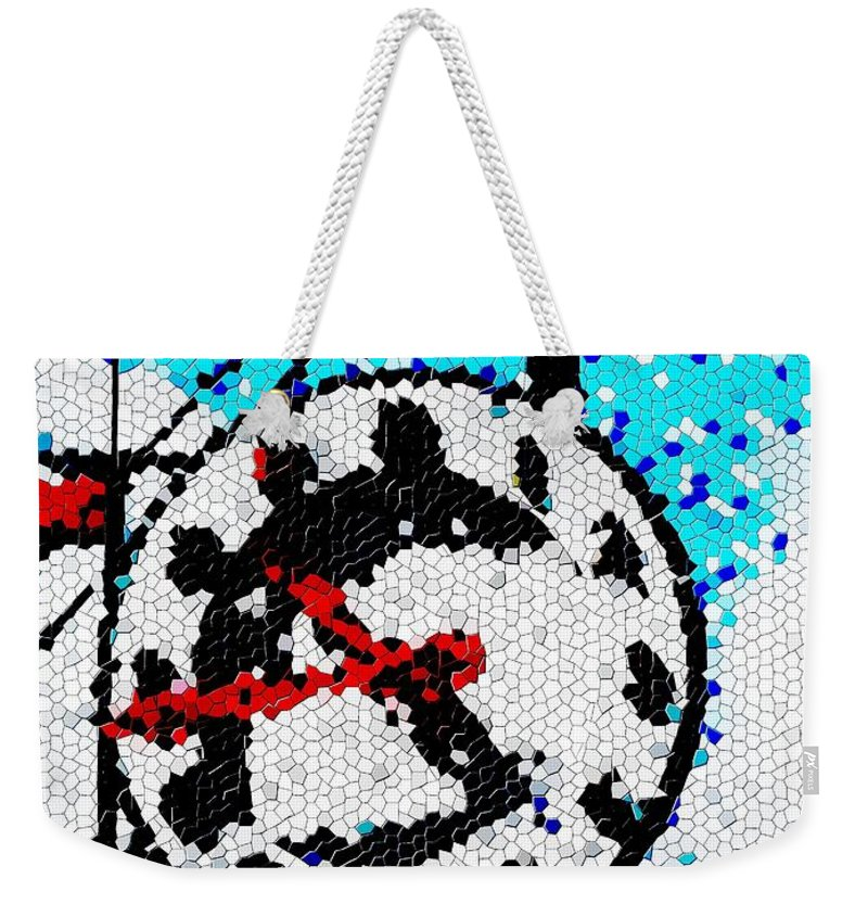 Seattle Weekender Tote Bag featuring the digital art Market Clock Mosaic by Tim Allen