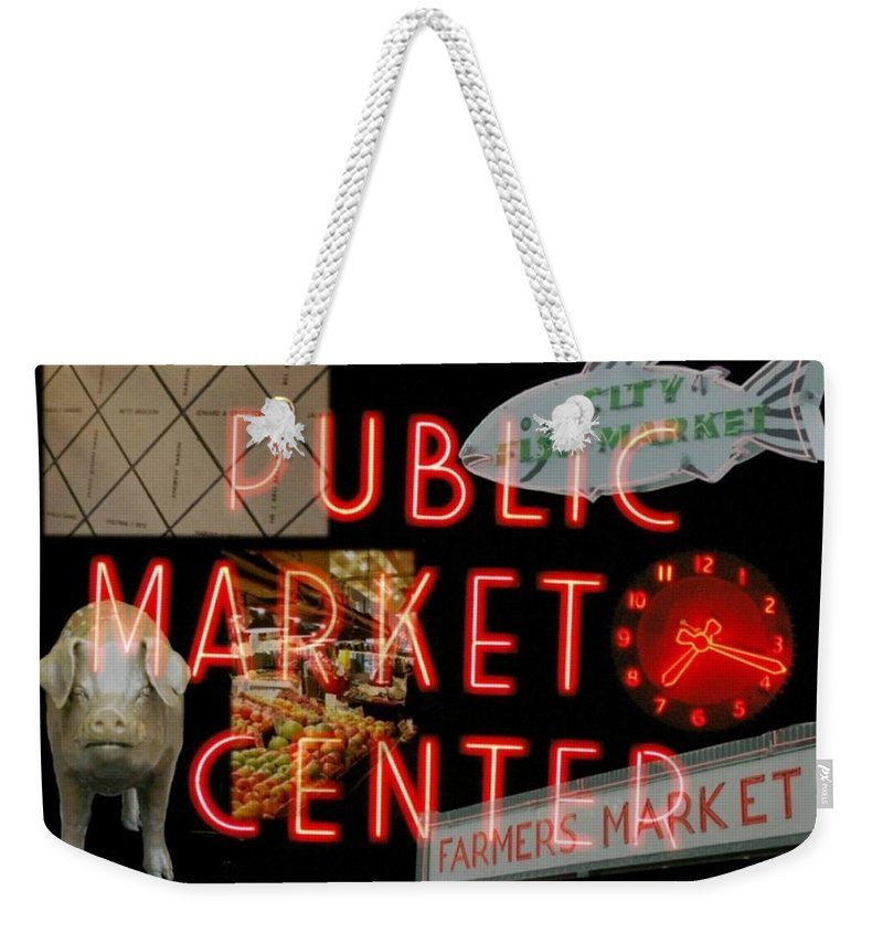 Seattle Weekender Tote Bag featuring the photograph Market Collage by Tim Allen
