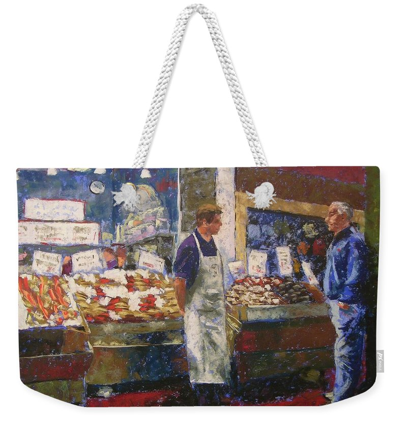 Pike Place Market Weekender Tote Bag featuring the painting Market Conversation by Mary McInnis