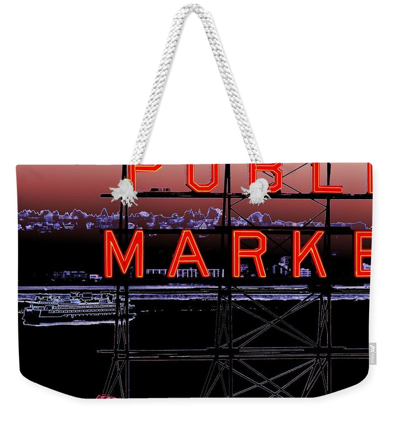 Seattle Weekender Tote Bag featuring the digital art Market Ferry 2 by Tim Allen