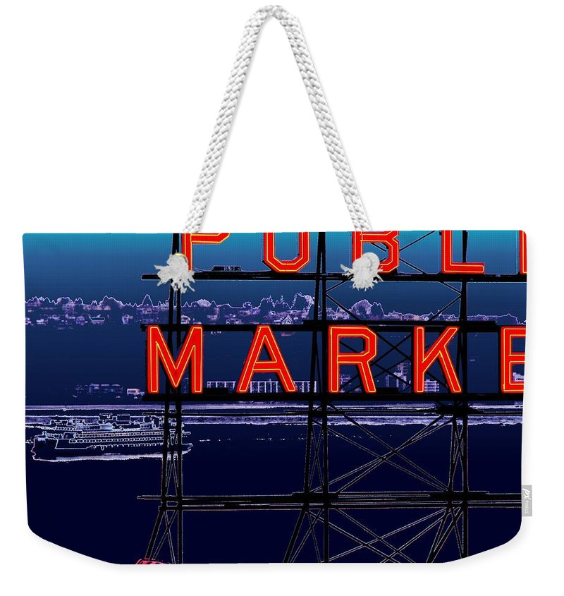 Seattle Weekender Tote Bag featuring the digital art Market Ferry by Tim Allen
