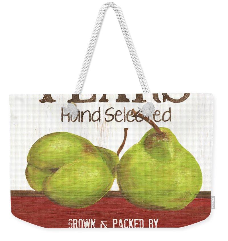 Pears Weekender Tote Bag featuring the painting Market Fruit 1 by Debbie DeWitt