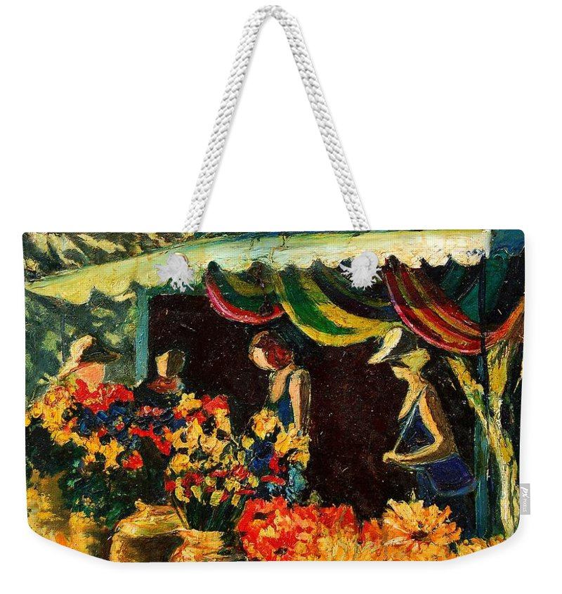 Provence Weekender Tote Bag featuring the painting Market In Provence by Pol Ledent