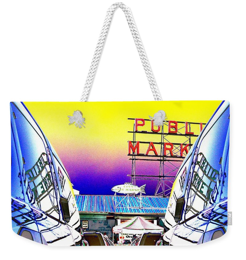 Seattle Weekender Tote Bag featuring the photograph Market Reflect by Tim Allen