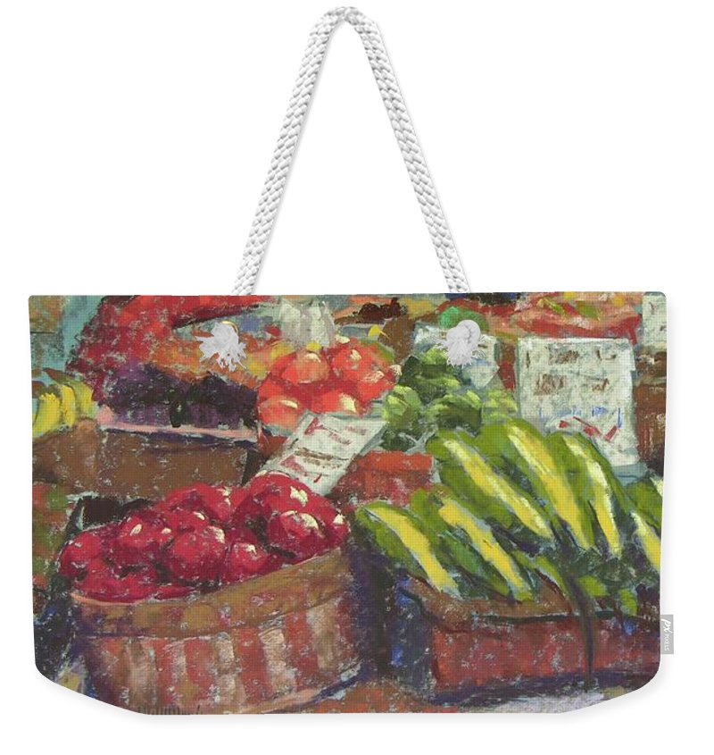 Pike Place Market Weekender Tote Bag featuring the painting Market Stacker by Mary McInnis