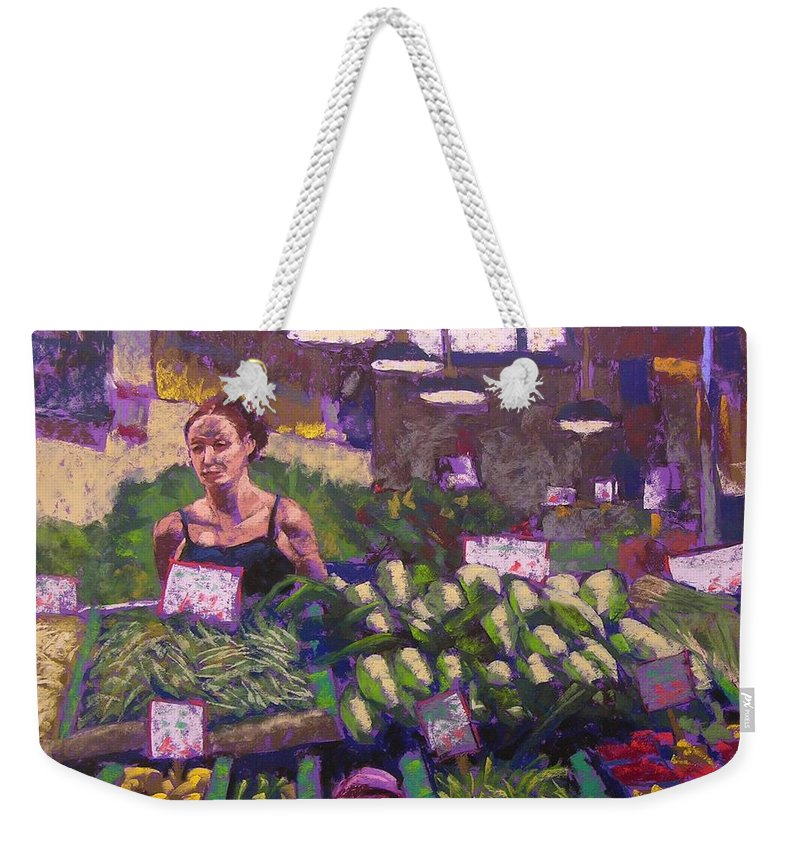 Pike Place Market Weekender Tote Bag featuring the painting Market Veggie Vendor by Mary McInnis