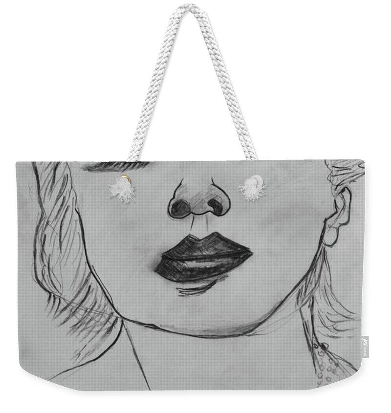 Drawing Weekender Tote Bag featuring the drawing Marlene by Roger Cummiskey