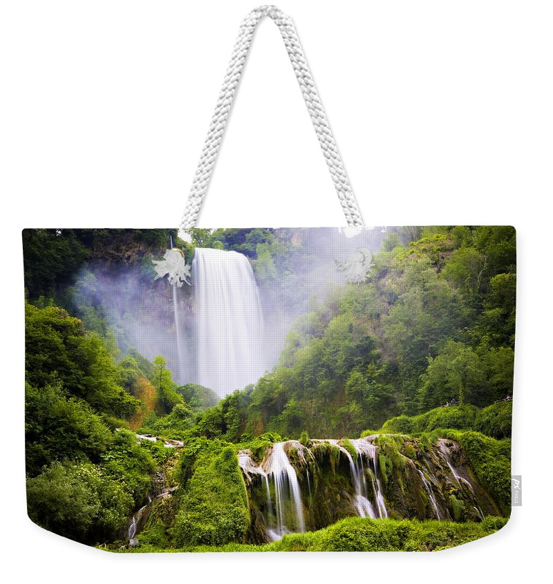Italy Weekender Tote Bag featuring the photograph Marmore Waterfalls Italy by Marilyn Hunt