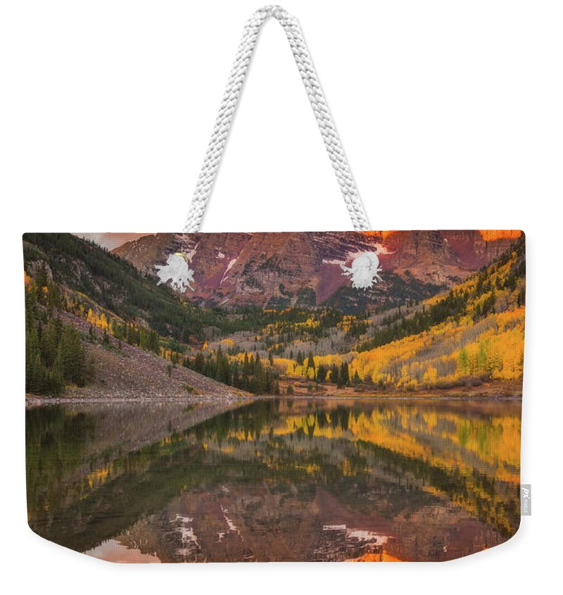 Fall Colors Weekender Tote Bag featuring the photograph Maroon Bells Magic by Darren White