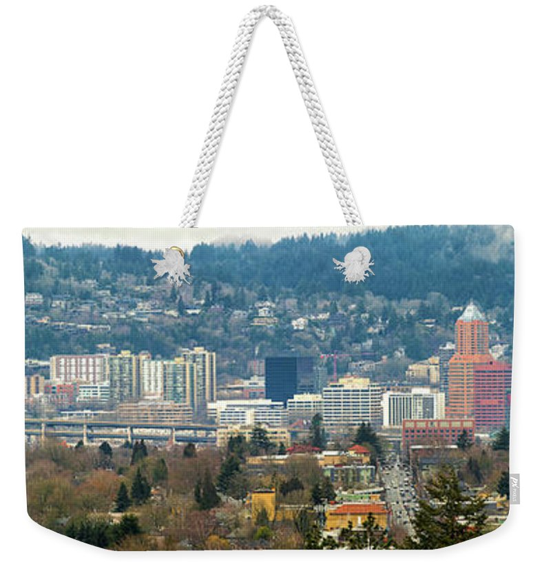 Marquam Bridge Weekender Tote Bag featuring the photograph Marquam Bridge By Portland City Skyline Panorama by David Gn