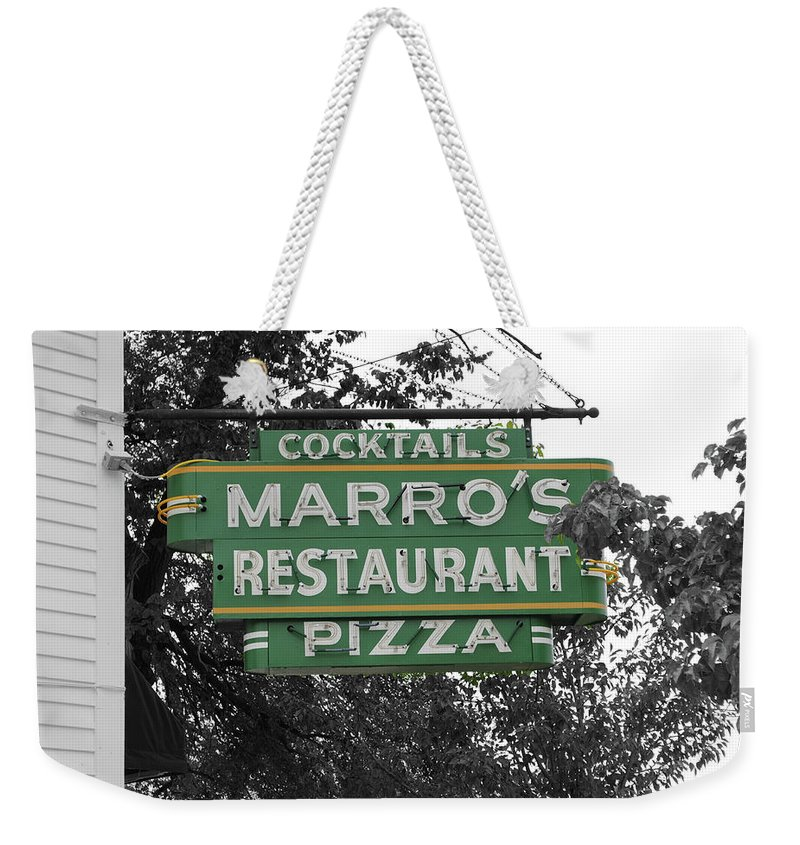 Marro's Weekender Tote Bag featuring the photograph Marro's Restaurant by Jost Houk