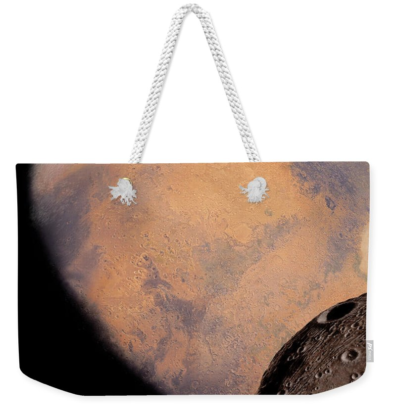 Mars Weekender Tote Bag featuring the painting Mars And Phobos by James Hervat