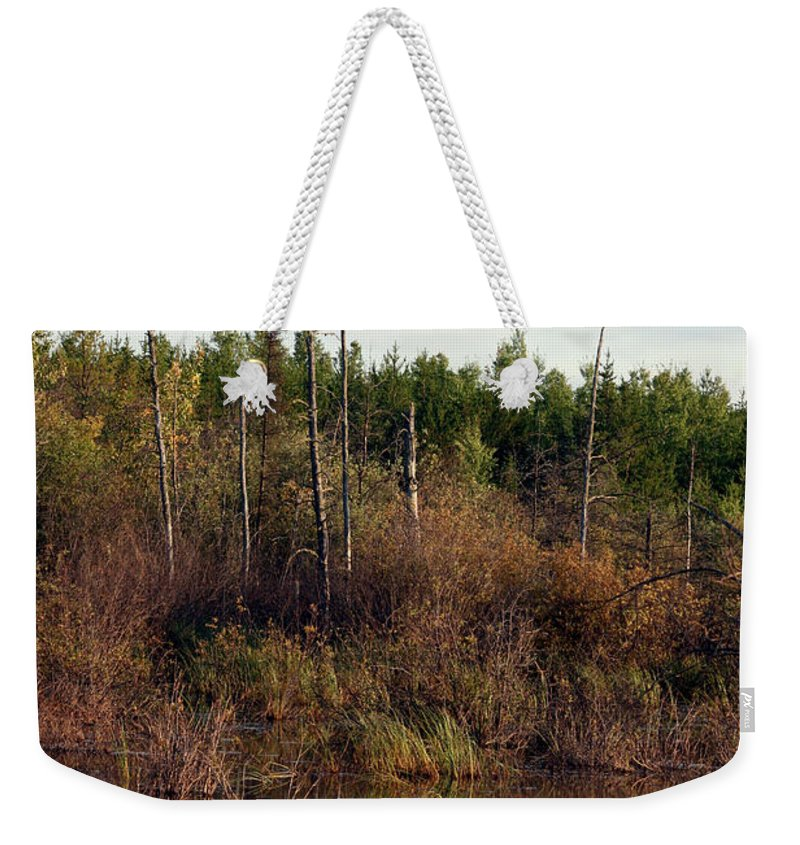 Marsh Lake Water Aquatic Wild Natural Mother Nature Pond Weekender Tote Bag featuring the photograph Marsh by Andrea Lawrence