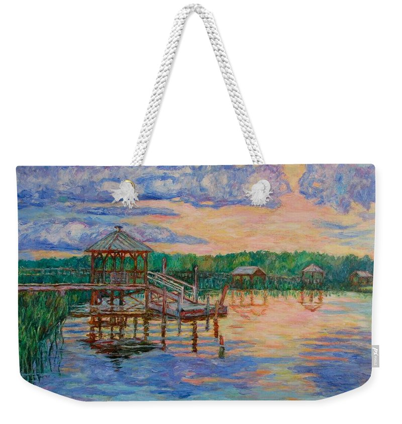 Landscape Weekender Tote Bag featuring the painting Marsh View At Pawleys Island by Kendall Kessler