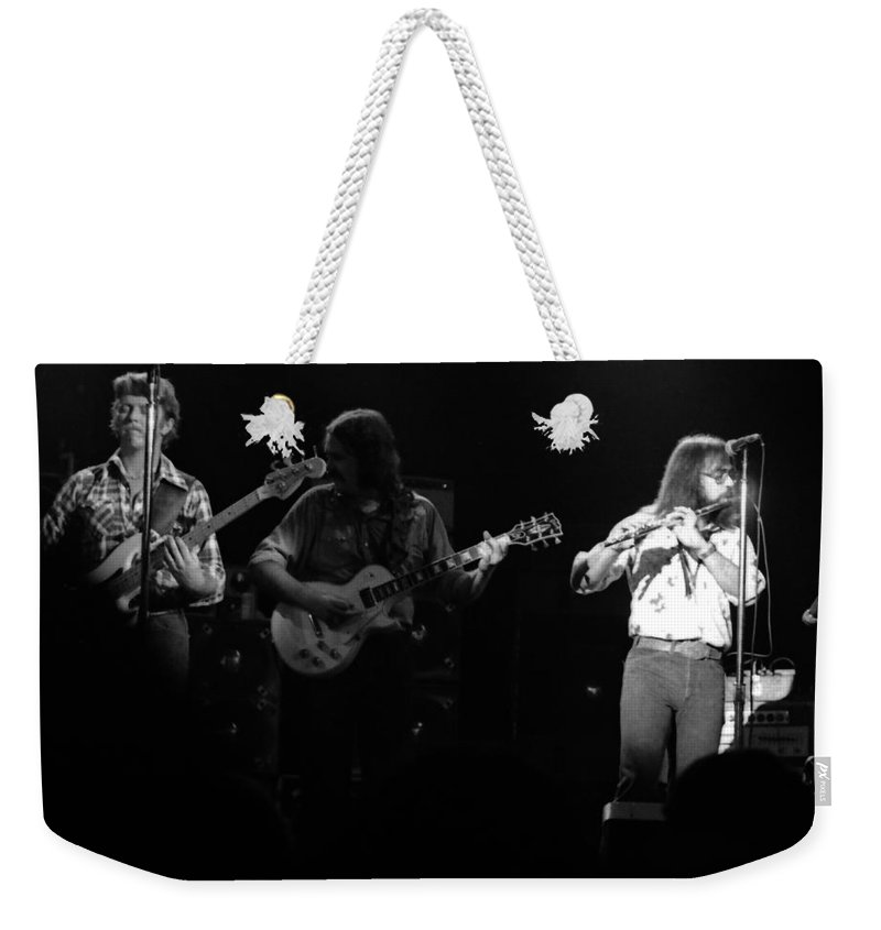 Marshall Tucker Weekender Tote Bag featuring the photograph Marshall Tucker Winterland 1975 #37 Crop 2 by Ben Upham
