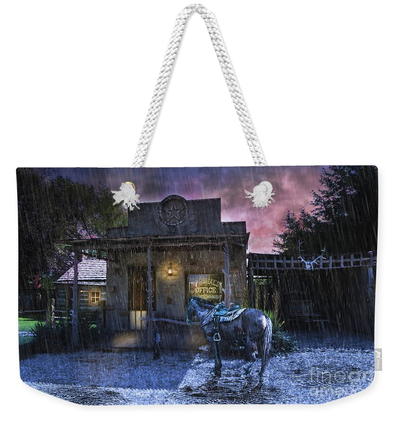Western Art Weekender Tote Bag featuring the photograph Marshall's Office by Jan Galland