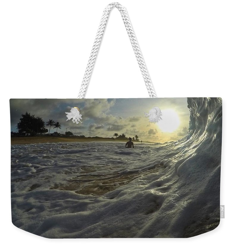 Wave Weekender Tote Bag featuring the photograph Marshmallow Melt by Benen Weir
