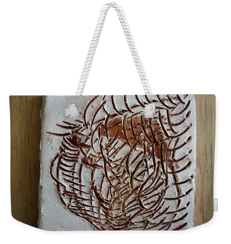 Jesus Weekender Tote Bag featuring the ceramic art Martha - Tile by Gloria Ssali