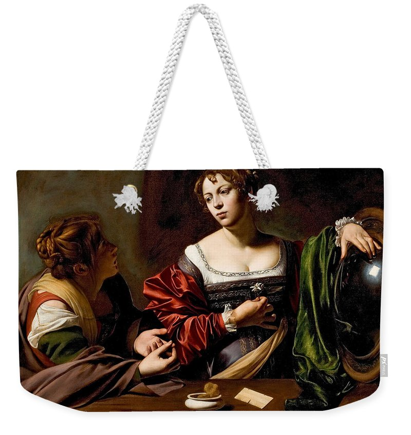 Caravaggio Weekender Tote Bag featuring the painting Martha And Mary Magdalen by Caravaggio
