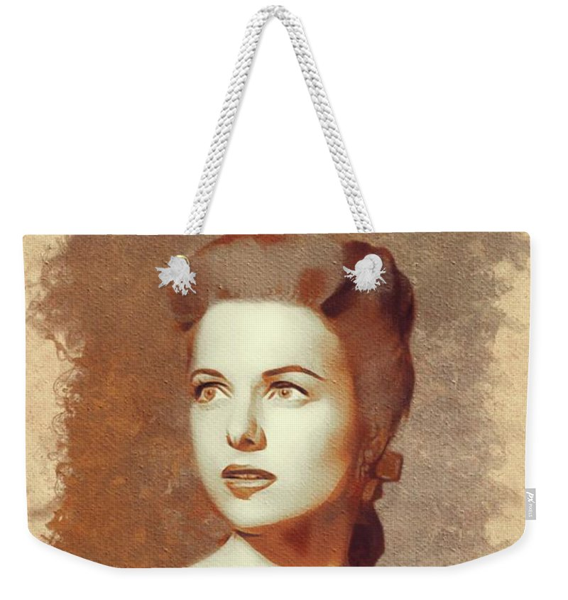 Martha Weekender Tote Bag featuring the painting Martha Hyer, Hollywood Legend by Mary Bassett