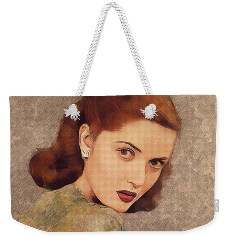 Martha Weekender Tote Bag featuring the painting Martha Vickers, Movie Legend by Mary Bassett