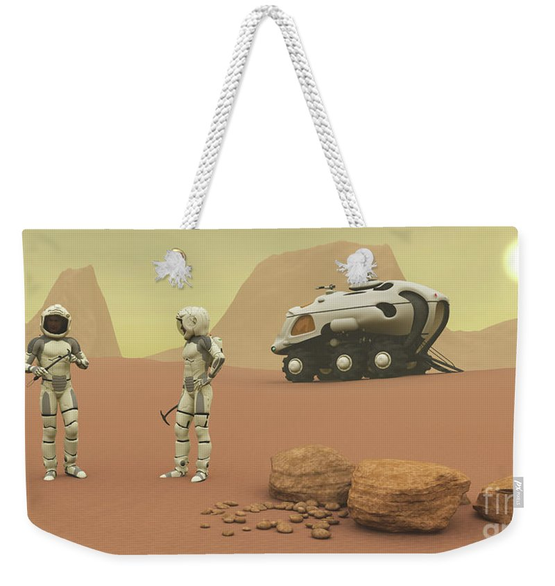 3d Illustration Weekender Tote Bag featuring the painting Martian Exploration by Corey Ford