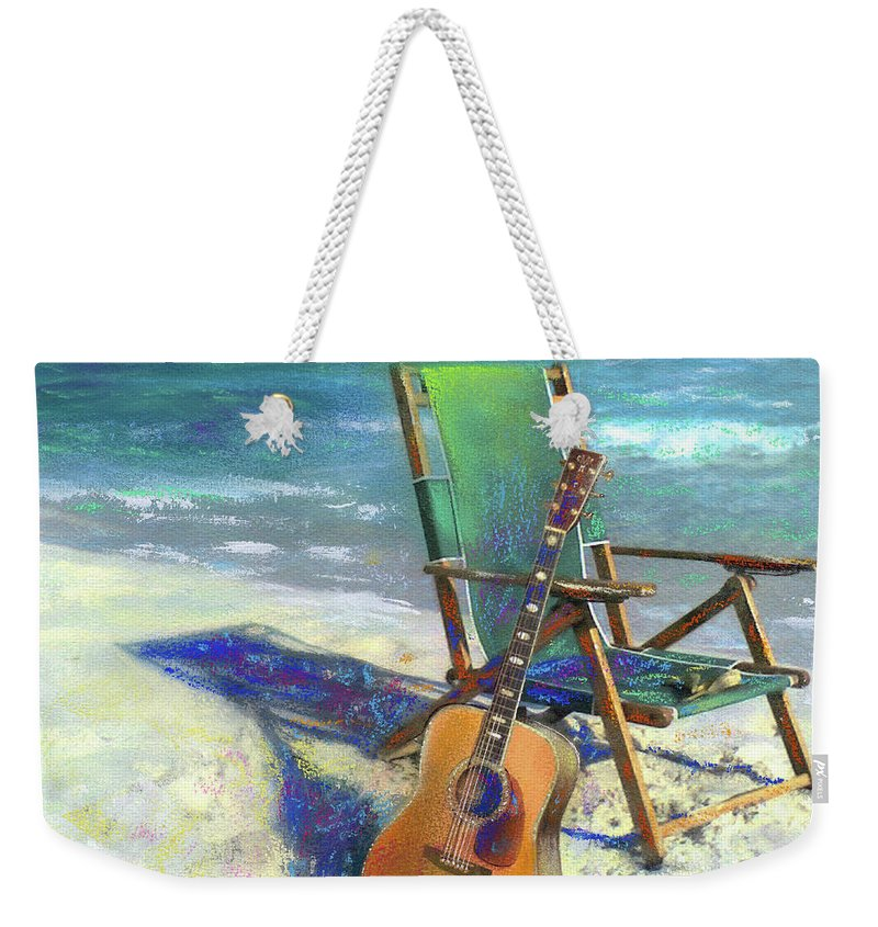 Guitar Weekender Tote Bag featuring the painting Martin Goes To The Beach by Andrew King