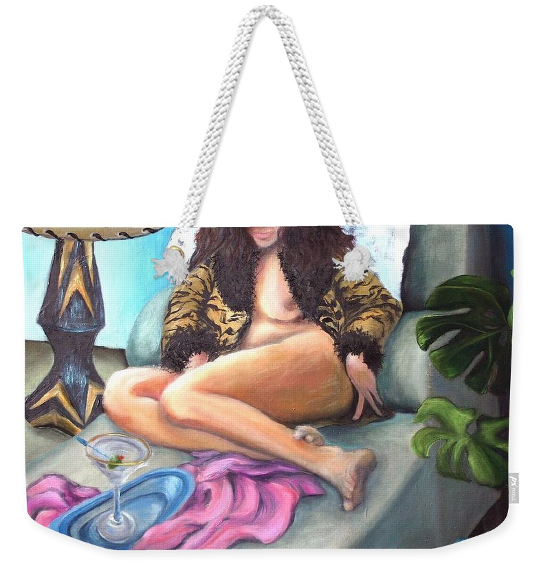 Nude Weekender Tote Bag featuring the painting Martini Eclectic by Minaz Jantz