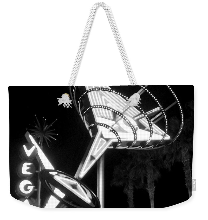 Martini Weekender Tote Bag featuring the photograph Martini Sign In Vegas B-w by Anita Burgermeister
