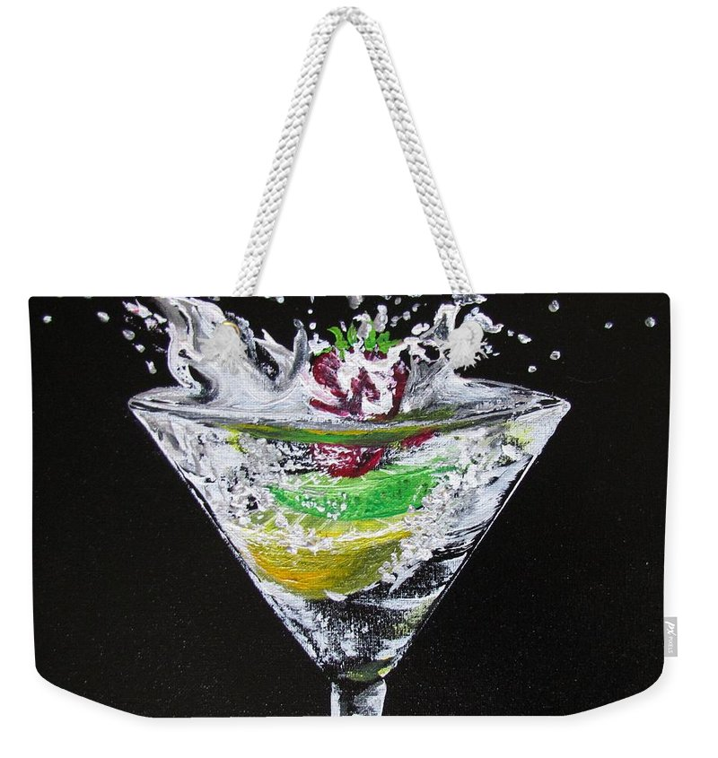 Martini Weekender Tote Bag featuring the painting Martini Splash by Mandy Joy