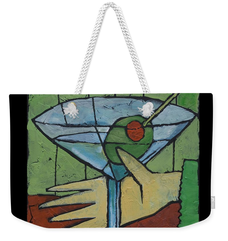 Martini Weekender Tote Bag featuring the painting Martini Time - Within Reach by Tim Nyberg